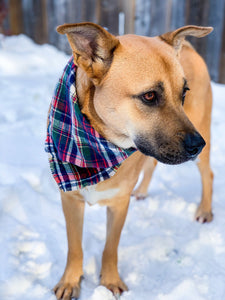 Holiday Helper Flannel tie-on Dog Bandana