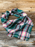 Mistletoe Flannel Tie-On Bandana