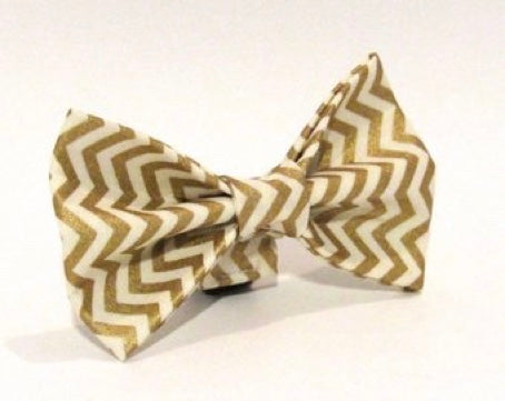 Gold Chevron Doggy Bowtie ;  collar also available
