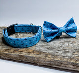 Anchor ( on blue ) Collar -  anchor doggy bowtie sold separately