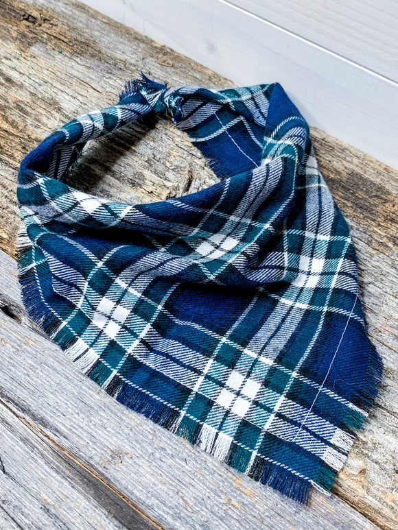 Spruce Flannel tie-on Dog Bandana