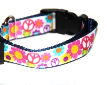 Flower Power Peace Dog Collar
