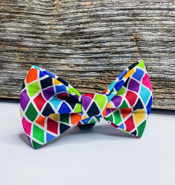 Colourful Argyle Doggy Bowtie
