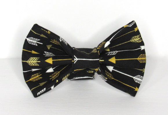 Gold and White Arrow Doggy Bowtie