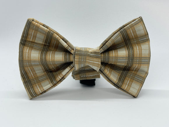 Old Man Plaid Doggy Bowtie