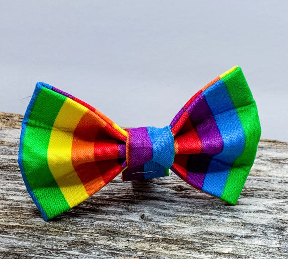 Rainbow Stripes Doggy Bowtie