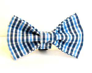 Blue Plaid Doggy Bowtie