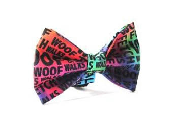 Rainbow Woof Walk Fetch Doggy Bowtie