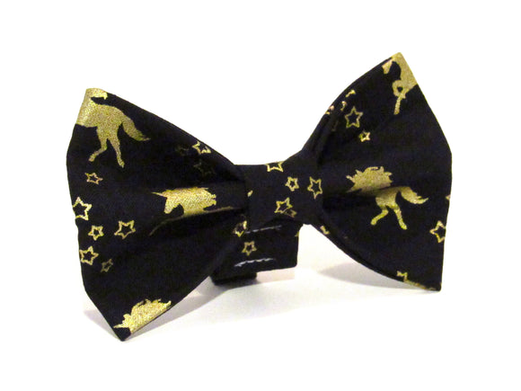 Gold Unicorn Doggy Bowtie
