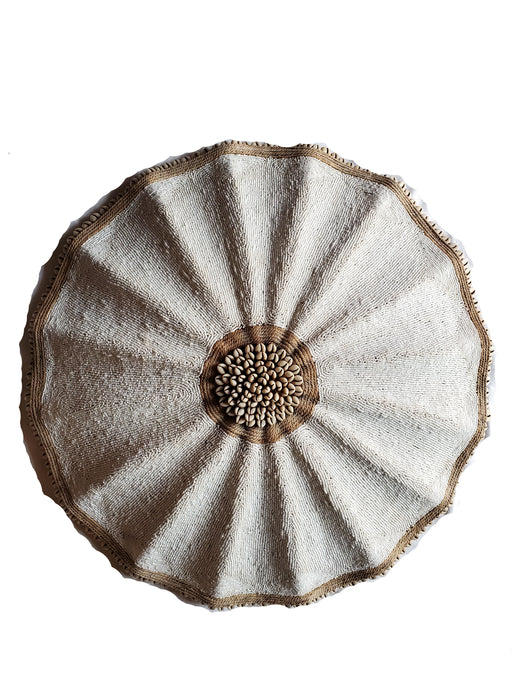 Beaded Cameroon Umbrella Shield - White