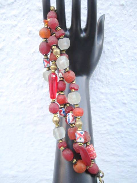 Trade Beads and Recycled Glass Bracelet 2