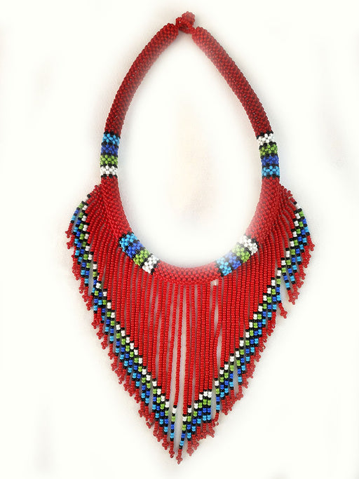 Abuu Beaded Necklace Red