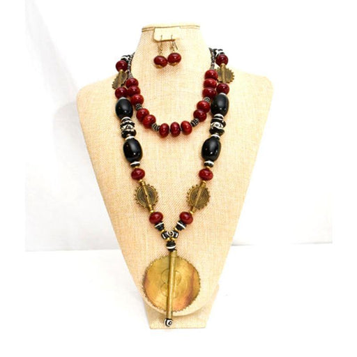 African Black and Maroon Amber Necklace with Brass and Earrings Set