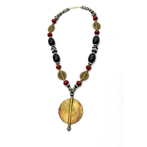 African Black and Maroon Amber Necklace with brass