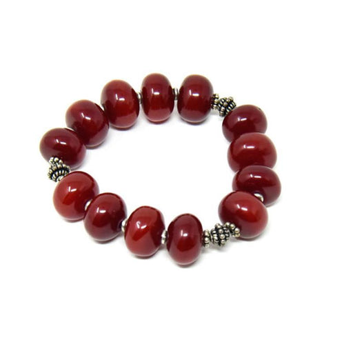 African Maroon Copal Resin Amber Bracelet - Large Beads