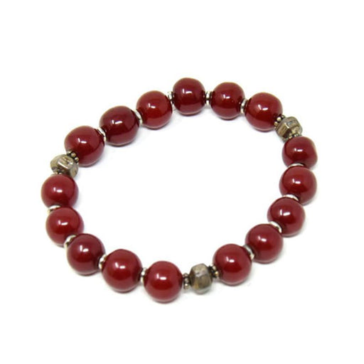 African Maroon Copal Resin Amber Bracelet - Small Beads