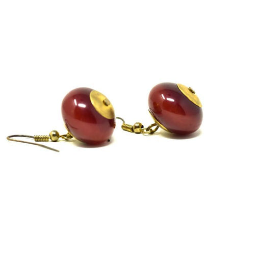 African Maroon Amber Earrings 01