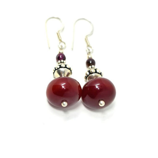 African Maroon Amber Earrings 02