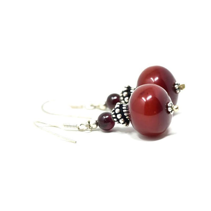 African Maroon Amber Earrings 03