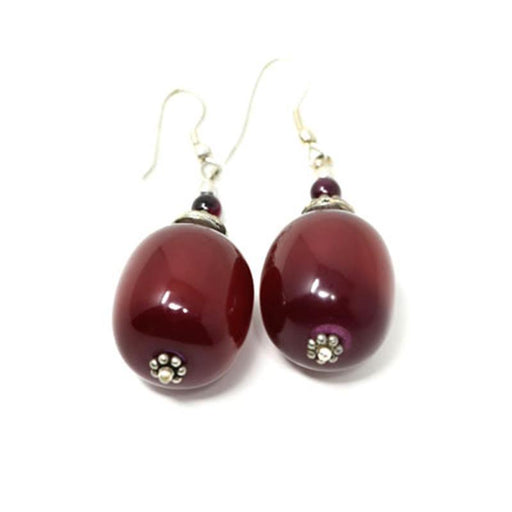 African Maroon Amber Earrings 04