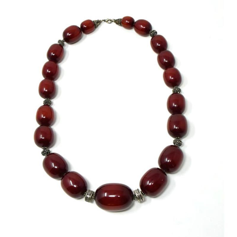 African Maroon Amber Necklace Long (19 Beads)