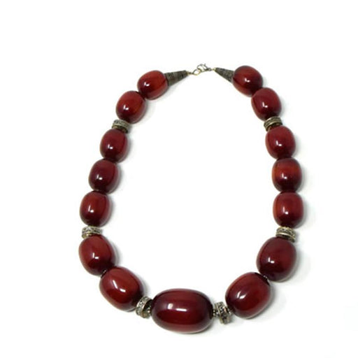 African Maroon Amber Necklace medium (15-Beads)