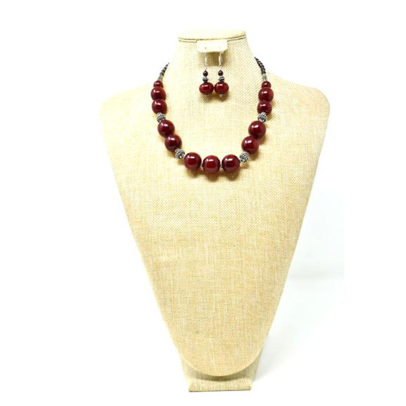 African Maroon Amber Neckline Necklace 02 Set