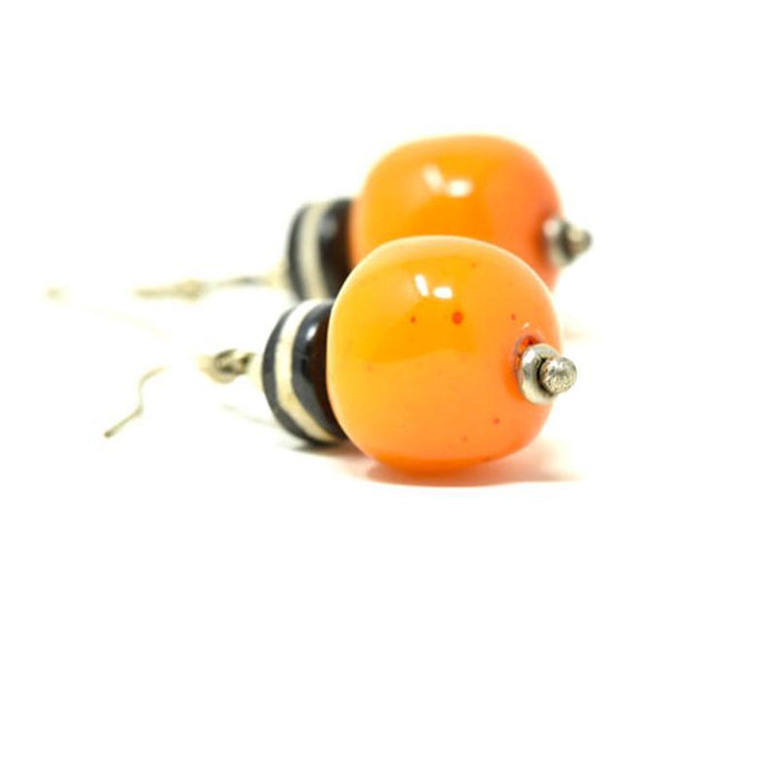 African Orange Amber Earrings 01