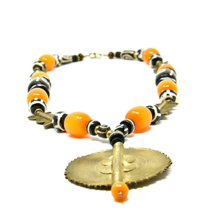African Orange Amber Necklace with brass and Earrings Set