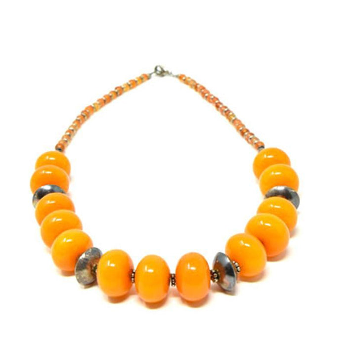 African Orange Amber Neckline Necklace 01 CU 150