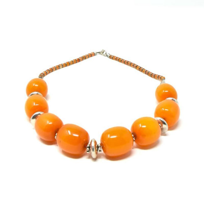 African Orange Amber Neckline Necklace 03 Set