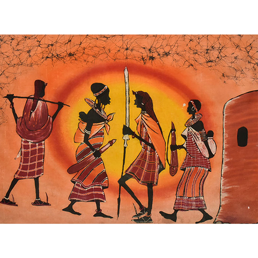 Batik 01 Maasai Warrior Sunset