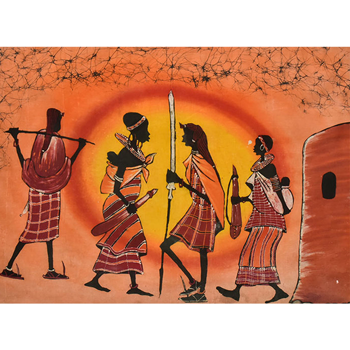 Maasai Warrior Sunset Batik 01