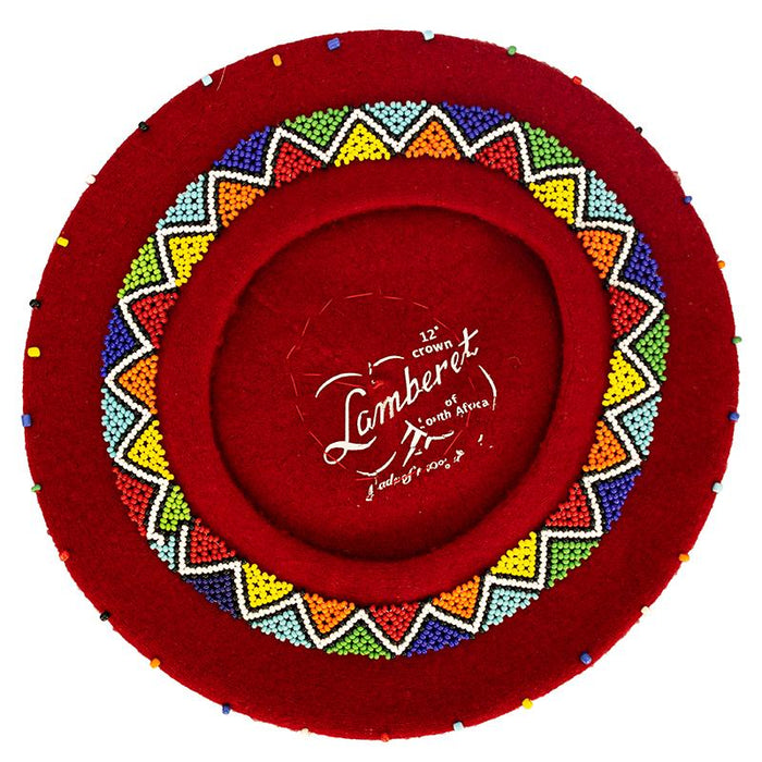 Beaded Beret Red 01