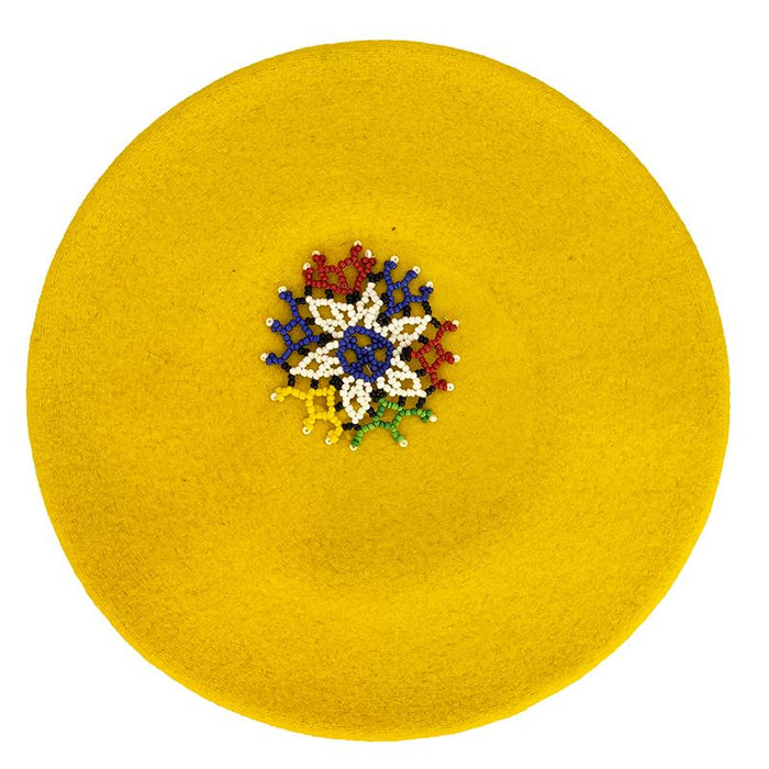 Beaded Beret Yellow