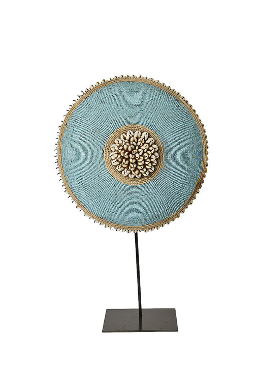 Beaded Cameroon Shield on stand - Light Blue