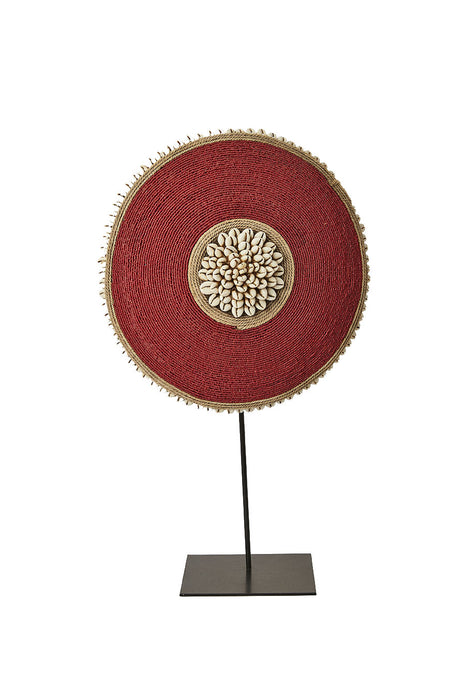 Beaded Cameroon Shield on stand - Red