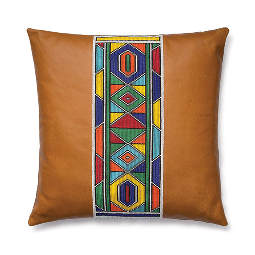 Beaded Leather Pillow Cover 04