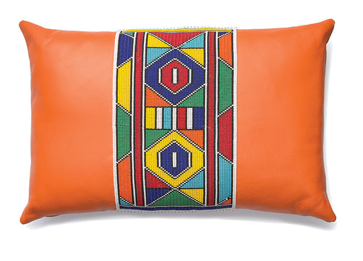 Beaded Leather Pillow Cover 06