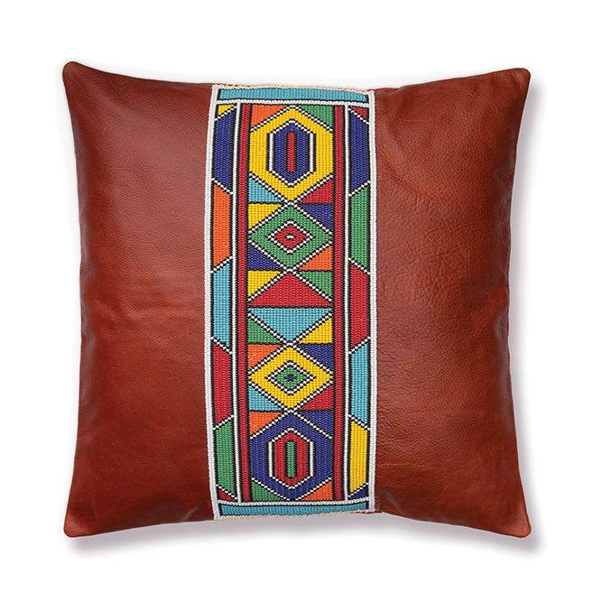 Beaded Leather Pillow Cover 05