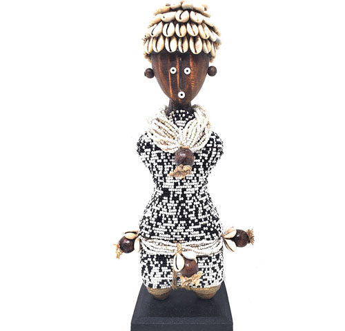 Beaded Namji Doll 28 Speckled Black & White