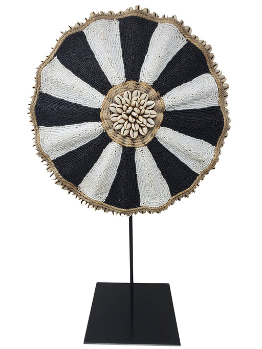 Beaded Cameroon Umbrella Shield on stand - Black & White 02