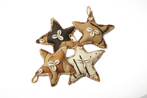 Kuba & Mud cloth Star Christmas Ornaments - Set of 4