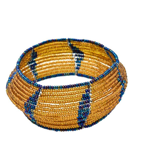 Maasai Concave Beaded Bangle 07- Gold & Purple