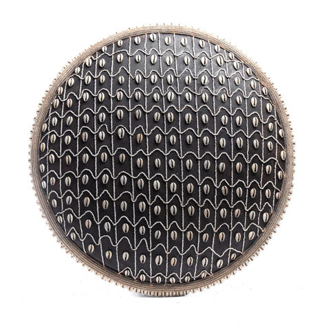 Wood Cowrie Shell Shield with Beads