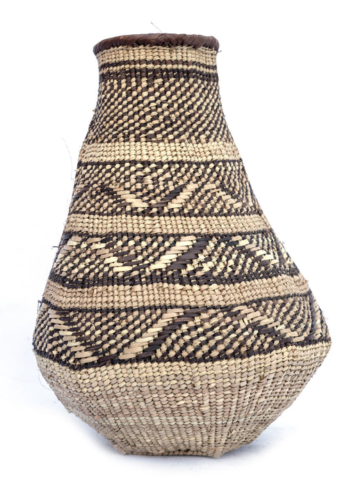 Tonga Buhera Natural Patterned Basket Vase