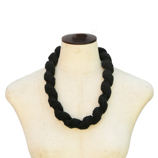 Oije Chunky Beaded Unisex Necklace - Black
