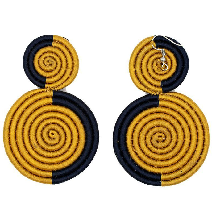 Double Disc Embroidery Earrings 04