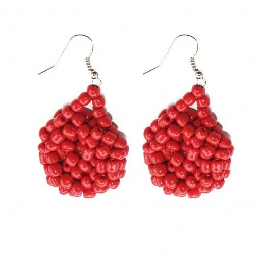 Kanule Beaded Earrings - Red