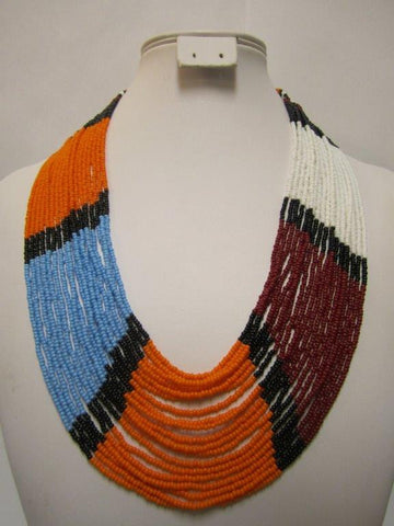 Umbrella Long Necklace 3 Masai Colors
